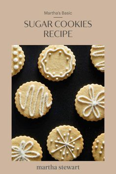 Martha Stewart's sugar cookies recipe is a classic, delicious anytime treat. Enjoy your sugar cookies plain, or decorate to make them festive. Chewy Sugar Cookies, Vanilla Cookies, Sugar Cookies Recipe, Cookie Recipes, Dessert Recipes, Cookie Desserts, Plain Cookie Recipe, Plain Cookies, Martha Stewart Sugar Cookie Recipe