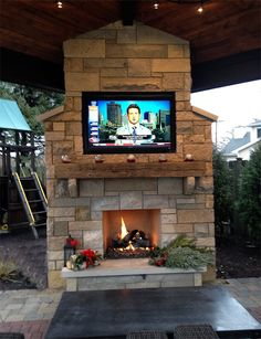 Outdoor patio with fireplace and tv google search deck - Outdoor fireplace with tv ...