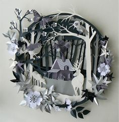 """""""Beauties Woodland Cottage"""" paper cut, by Helen Musselwhite"""
