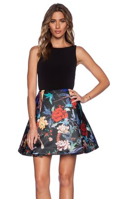 Alice + Olivia Box Pleat Dress in Floral Bird