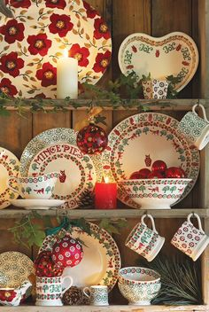 Love this idea of adding the battery operated candles to the dish cupboard ...Emma Bridgewater Christmas Preview 2014 emmabridgewater.co.uk