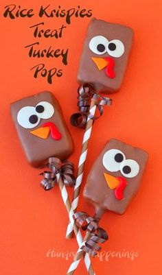 Make these cute Chocolate Dipped Rice Krispies Treat Turkey Pops that's be a hit among kids during Thanksgiving! From HungryHappenings.com