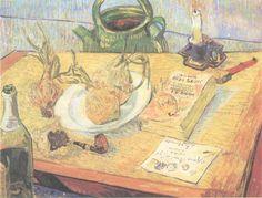 Natura morta con tavolo da disegno, pipa, cipolle e cera