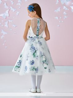 Joan Calabrese for Mon Cheri - 117354 - Sleeveless Mikado, printed Mikado and tulle with taffeta mid-calf length A-line dress with jewel neckline, solid Mikado bodice with deep scoop illusion back featuring three-dimensional flowers down center, set-in printed Mikado waistband, gathered tulle over printed Mikado skirt with slightly shorter hemline.Sister dress to style 117353.Sizes: 2 – 14Color: Ivory/Multi