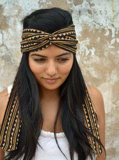 Earthy, Tribal Turban Headband Head Wrap  - Hand block printed, All Natural Vegetable Dyes, 100% Cotton Bohemian head band. $21.50, via Etsy.