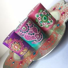 Set of 3 Scented Decorative Candles Diwali Decor Diwali