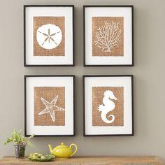 Beach House Decor / Burlap Custom Art / Rustic Wedding Gifts / Housewarming Gift / Custom Art for the Home / Nautical Wall Hangings / Jute
