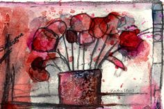 Red flowers, scribble, watercolour, Kathy Lewis