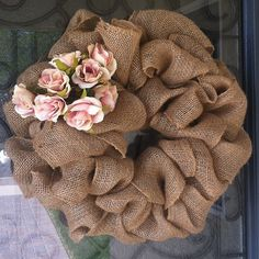 My front door wreath made from burlap and pink roses : )