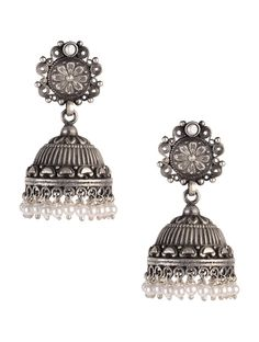 Buy Silver Ivory Pearls Jhumkis 92.5% Sterling Jewelry Sparkling Notes Handcrafted Earrings and Necklaces Online at Jaypore.com
