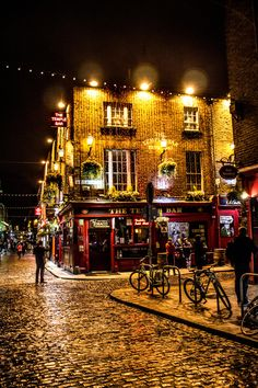 Temple Bar, Dublin, Ireland.... Bj and I ate here twice on our honeymoon! It had live Irish music and Irish dancers. Lots of fun!!!