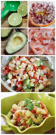 Zesty Lime Shrimp and Avocado Salad: 1 lb jumbo cooked shrimp, peeled and deveined, chopped* 1 medium tomato, diced 1 hass avocado, diced 1 jalapeno, seeds removed, diced fine 1/4 cup chopped red onion 2 limes, juice of 1 tsp olive oil 1 tbsp chopped cilantro salt and fresh pepper to taste