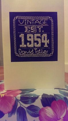 60 birthday card. Cross stitch. Vintage