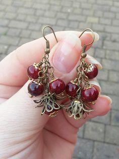 Red Berry EarringsDangle Earringschanderlier by Blackpassion #red #earrings #victiorian #jewelry #etsy
