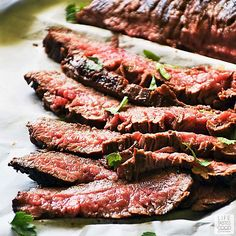 Marinated in the best flank steak marinade ever, my recipe for Cast Iron Flank Steak, is delicious, LOW CARB, quick & easy to make, and one of my FAVORITE go-to easy dinner ideas! #LTGrecipes