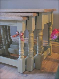 Shabby Chic Oak Nest Of Tables Annie Sloan Chalk Paint