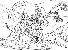 The Parasol by Francisco De Goya coloring page Sunflower Coloring Pages, Colouring Pages, Adult Coloring Pages, Coloring Books, Colorful Drawings, Colorful Pictures, Art Espagnole, Sunflower Colors, Teaching Drawing