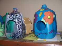 Painted milk jug bird feeders at Knob Noster State Park Missouri.