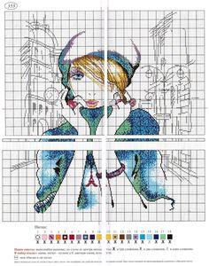 0 point de croix fille à Paris, collier tour eiffel - cross stitch girl in paris, eiffel tower necklace 2
