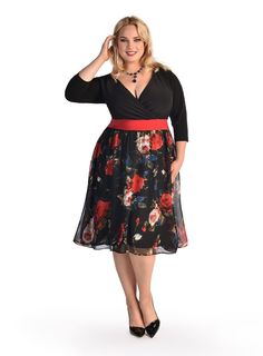 An update to our classic Kelly Dress, this style is reminiscent of old hollywood glamour with this high waist, full and flared chiffon floral print skirt reminscent of Rembrandt's work. The top is a black vneck, with a red builtin belt at the natural waist and three quarter length sleeves. The top is slimming and highlights a lady's best assets. Worn on or off the shoulder, this classic beauty could be paired with pearls, or vintage jewels and a delicate strappy shoe or peep toe pump.Use…