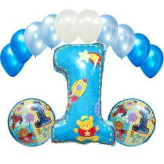 First Birthday Party Supplies Blue Number 1 Mylar Super Foil Balloon Bouquet Boy #Anagram #BirthdayChild