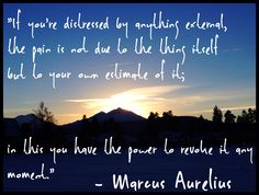 """""""If you're distressed by anything external, the pain is not due to the thing itself, but to your own estimate of it; in this you have the power to revoke it any moment."""" - Marcus Aurelius"""