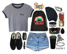 """""""Warped Tour 2017 (I'M NOT DEAD!)"""" by ooakforest ❤ liked on Polyvore featuring Vans, PINTRILL, INDIE HAIR, Hot Topic, Valentino and beautyblender"""