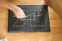DIY Geoboard - nice advice about marking the nails to make them even in the board