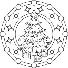 Mandala coloring for Christmas - Coloring Pages Christmas Tree With Gifts, Christmas Colors, Kids Christmas, Christmas Crafts, Christmas Decorations, Christmas Ornaments, Mandala Coloring Pages, Colouring Pages, Adult Coloring Pages