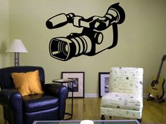 Wall Decal Sticker Bedroom retro video camera filming movie photo reportage 054b