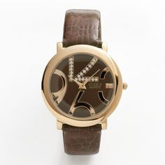 Studio Time Gold Tone Simulated Crystal Watch - Women