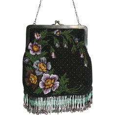 Vintage Beaded Purse Fabulous Fringes and Gorgeous Floral Beadwork