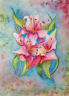 Title  Lily II   Artist  Linda Brody   Medium  Painting - #Watercolor #lilies .. Beautiful!!!