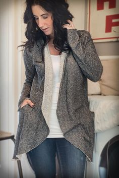 Image of Two Tone Terry Cardigan - Grey