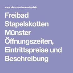 Freibad Stapelskotten Münster Öffnungszeiten, Eintrittspreise und Beschreibung