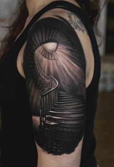 http://tattooideas247.com/stairs/ Creepy Stairs #CreepyInk, #Dark, #DenisSivak, #Horror, #Scary, #SleeveTattoo, #Stairs