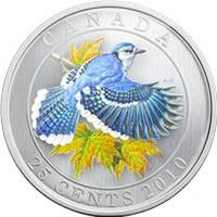 Canada: 2010 25 Cents Blue Jay Coloured Coin (tape on sleeve) Mint Coins, Silver Coins, Canadian Gold Coins, All About Canada, Canadian Things, Gold Money, Show Me The Money, Coins For Sale, Commemorative Coins