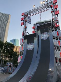New 18' Warped Wall $10,000 for scaling it on the first attempt. 2018 American Ninja Warrior. Warped Wall, American Ninja Warrior, Curious George, Parkour, Fair Grounds, Fun, Birthday Cake, Birthday Cakes, Cake Birthday