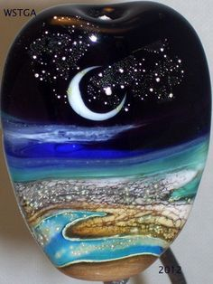 WSTGA~A MILLION STARS~MOON OCEAN SEA BEACH handmade lampwork glass bead focal