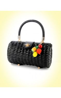 Wicker Baguette Purse in Black with Fruit Charm   Pinup Girl Clothing