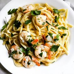 Shrimp scampi deliciousness; lemon, garlic, and wine, tossed with linguine and shrimp for a quick and easy flavor-packed weeknight meal.