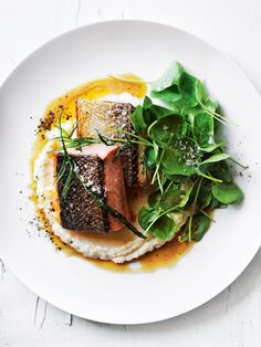 Perfect as a comforting weeknight dinner, this crispy-skin salmon with tarragon brown butter and celeriac almond puree will become a household favourite. Salmon Recipes, Fish Recipes, Seafood Recipes, Gourmet Recipes, Cooking Recipes, Healthy Recipes, Gourmet Desserts, Gourmet Foods, Plated Desserts