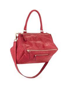 Pandora Medium Old Pepe Satchel Bag, Cherry by Givenchy at Bergdorf Goodman.