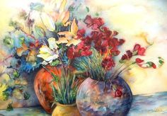 Watercolour Flowers painting 15 - Miki