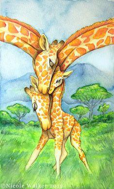 Family of Giraffes - Commission by Nicole-Marie-Walker on DeviantArt