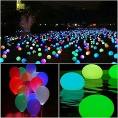Add glow-in-the-dark balloons to your swimming pool to light up the night!  It is also a great alternative to fishing out glow sticks from the pool the next day.