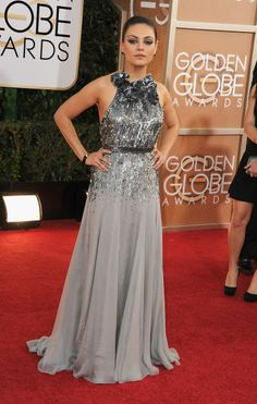 Mila Kunis in a beautiful Gucci Première dress on the red carpet Golden Globe Awards 2014.