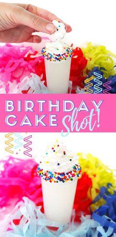 Easy shot recipe for a Birthday Cake Shot made from vodka, frangelico, and lemon. #shots #cocktails #vodka