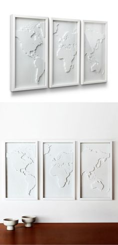 With the map in a different color though. Display your love for travel and culture with this three-panel relief-molded world map. Done in a classic white, it will be a wonderful focal point for your living room or bedroom. My New Room, My Room, Room Decor, Wall Decor, Home Design, Design Art, Sweet Home, Crafty, Classic White