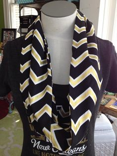 Fleurty Girl - Everything New Orleans - Black and Gold Chevron Loop Scarf Clothing Ideas, Size Clothing, Saints Gear, New Orleans Saints Football, Who Dat, Custom Printing, Gold Chevron, Loop Scarf, Football Season